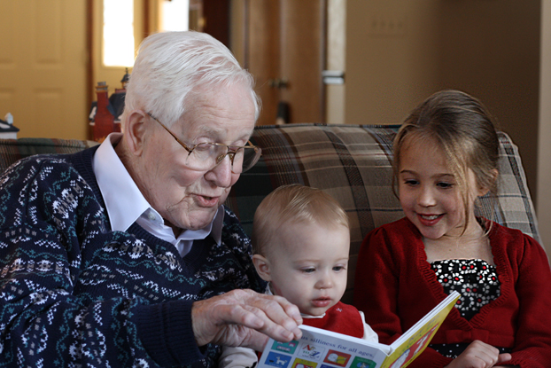 Grampa reads to the kids